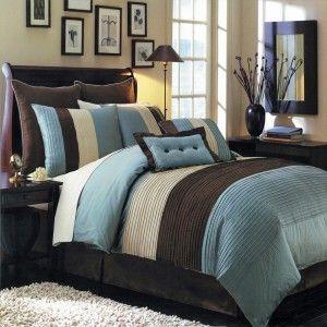 8pc modern blue brown comforter set w euro shams glorious blue color blue - Schlafzimmer Set Modern