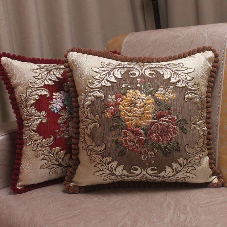Luxury Chenille Jacquard Embroidered Cushion Cover Elegant Classic Pillow Cases