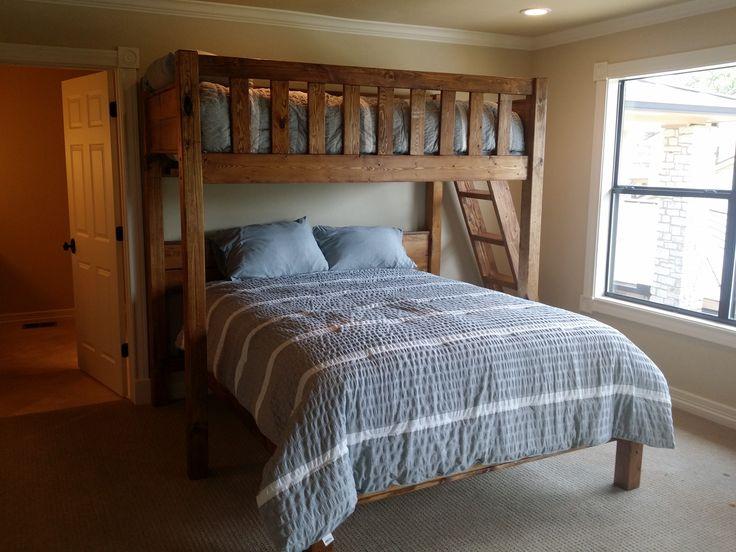 Queen or King Texas Bunk Bed - Twin over Queen - Rustic Perpendicular Designer Full Loft with Queen