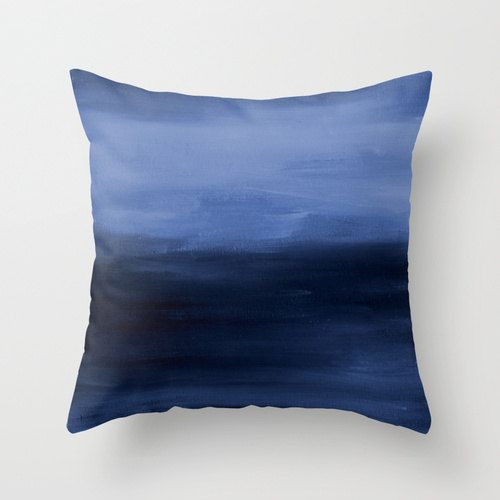 Navy Blue Throw Pillow Cover Abstract Ombre by HLBhomedesigns