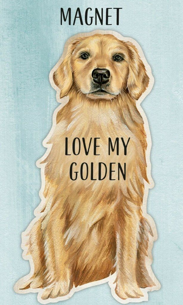 Love My Golden Retriever Dog Shaped Magnet By Primitives By Kathy