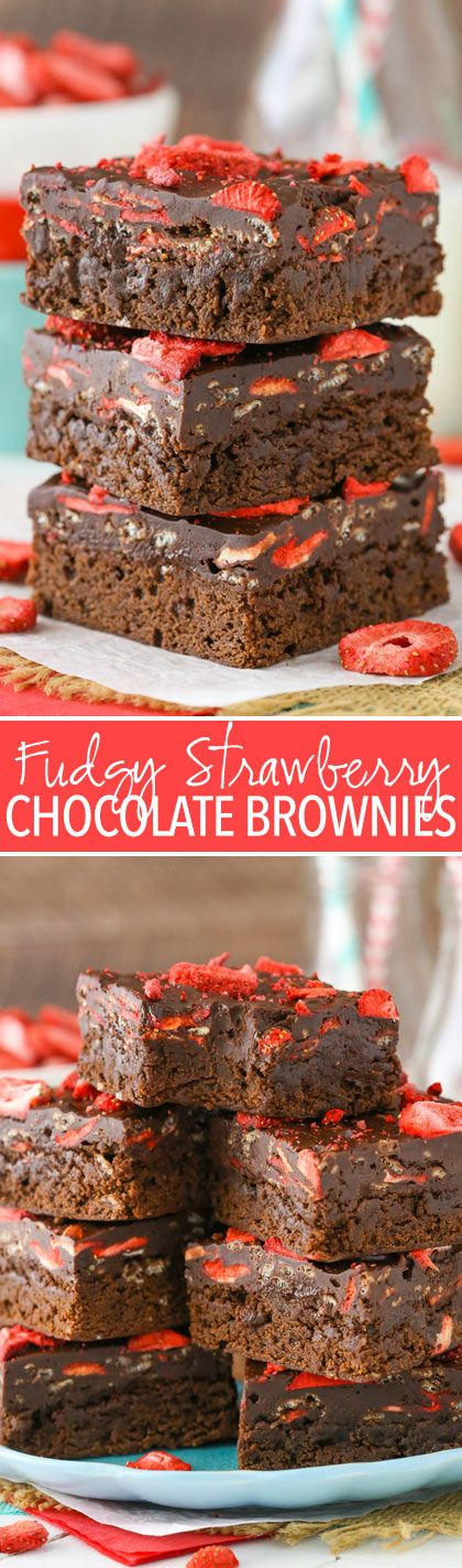 Fudgy Strawberry Chocolate Brownies - a brownie bottom and fudgy, strawberry-studded chocolate top! So good and easy to make!
