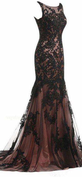 Modest Applique Prom Dress,Mermaid Prom Dress,Custom Made Evening Dress,17174