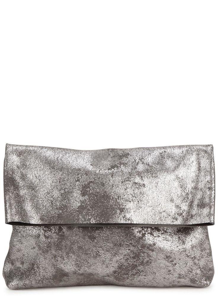 Eileen Fisher Metallic Suede Fold Over Clutch