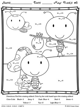 """Color to improve fine motor skills while practicing math!  Math """"May""""hem: May Math Printables ~ Color By The Code Puzzles To Practice Addition and Subtraction Facts. ~This Unit Is Aligned To The CCSS. Each Page Has The Specific CCSS Listed.~ This set includes 8 math puzzles....Spring, Mother's Day, Cinco de Mayo! Set also includes 8 answer keys for the 8 puzzles. $"""