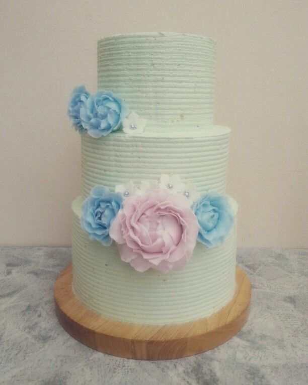 80th birthday buttercream cake with fondant flowers