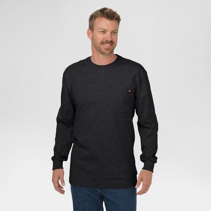 Dickies Men's Big & Tall Cotton Heavyweight Long Sleeve Pocket T-Shirt- Black Xxl Tall