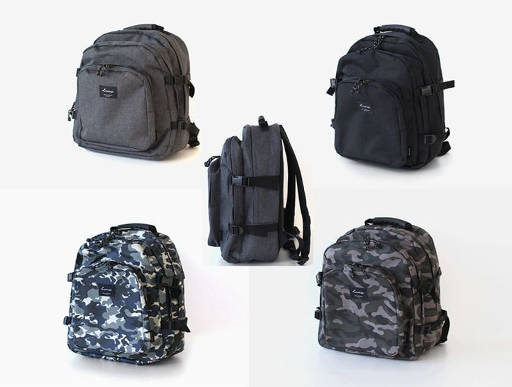 Korea Unisex Black Label Backpack School Travel Climbing Riding Hiking Bag Poly