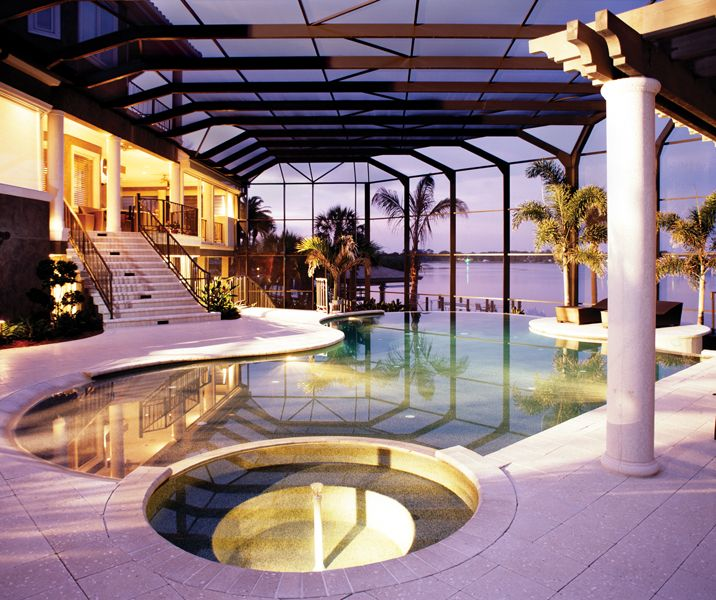 Luxury Pool House Night: Awesome Inground Pool Designs