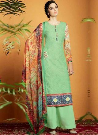 Green Embroidery Work Cotton Satin Designer Printed Pakistani Palazzo Suit http://www.angelnx.com/Salwar-Kameez/Pakistani-Suits