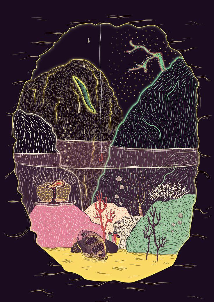 An #illustration exploring #strange #environments #Strangecreatures #curious #cave #mysterious #underwater #Glow #transparent