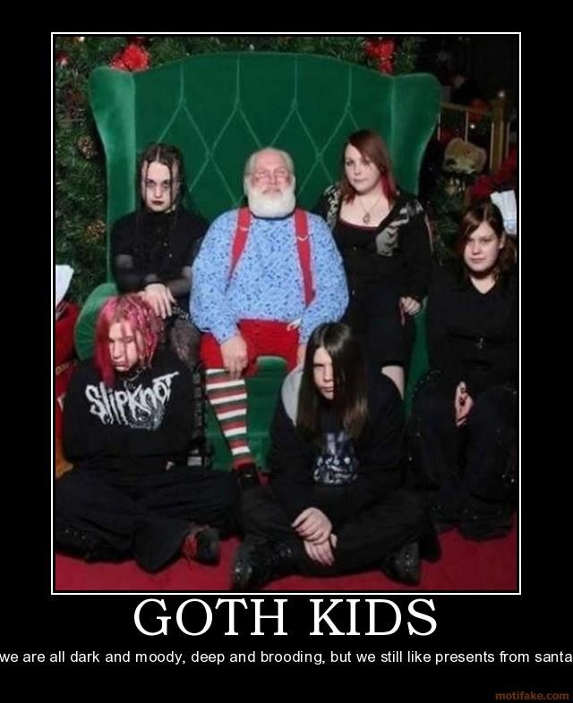 Goth Kids And Santa - Dont Want To Smile But Want Gifts -8510