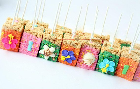 Buy Online! Perfect dessert and/or party favors for your Moana Birthday Party, Luau Party, Hawaiian Party or a Tahitian themed party! Delicious Chocolate dipped Rice Krispie treats in pink, blue, green and orange, topped with handmade colorful hibiscus flowers, seashells and tiki! You can add an age number too if you like!