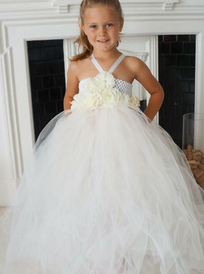 c2c3b641b99 A Line Spaghetti Strap Open Back Tulle Flower Girl Dresses With Flowers