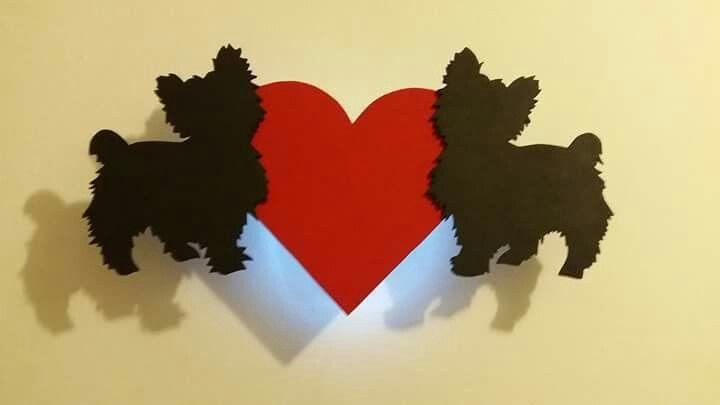 Kézzel készített Szerelmes Yorkshire terrierek sziluett dekor  LED lámpa - handmade decor LED lamp about yorkshire terriers  in love