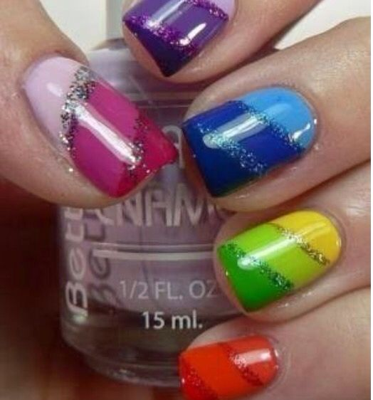 Colourful ombré nails with glitter