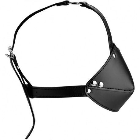 """Harnais de tête avec muselière et bâillon """"Muzzle harness with ball gag"""" de Strict."""