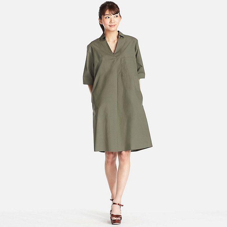 WOMEN CRISP COTTON A LINE SHIRT DRESS, OLIVE