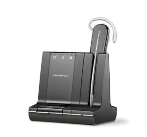 One Headset for Telephone, PC & Mobile Phone The Plantronics Savi 745 (Includes deluxe charging cradle and spare battery) wireless headset is changing the way productivity-focused office professionals communicate.