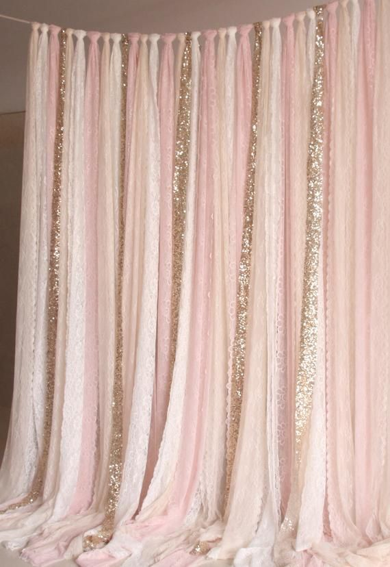 pale pink white Lace, gold Sparkle fabric photobooth backdrop Wedding ceremony s…