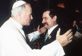 Pope John Paul II and Lech Walesa. Solidarity Movement