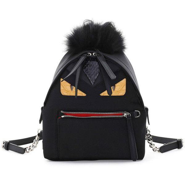 Fendi Large Monster Backpack with Fur ($2,450) ❤ liked on Polyvore featuring bags, backpacks, handbags backpacks, lightweight rucksack, fendi, fendi backpack, day pack backpack and backpack bags