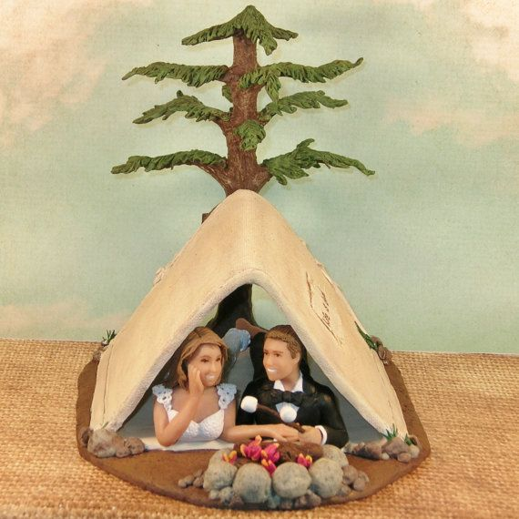 Camping Wedding Cake Topper with Tent,Campfire and couple roasting marshmallows