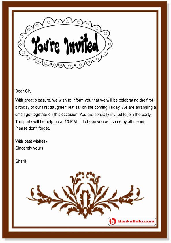 Family Get Together Invitation Letter Unique Birthday Invitation Letter Sample Birthday Invitations Kids Letters For Kids Birthday Invitations