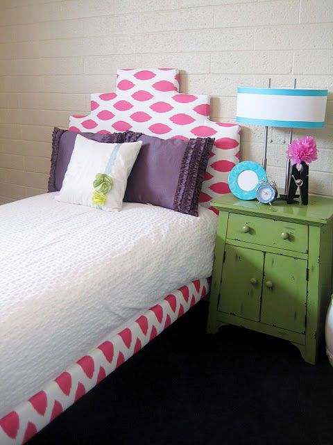 turn a basic IKEA kid's bed into this cute upholstered bed #ikea #headboard