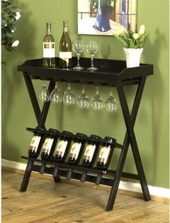 Tuscany 6-Bottle Wine Stand with Stemware Rack - contemporary - wine racks - by Hayneedle