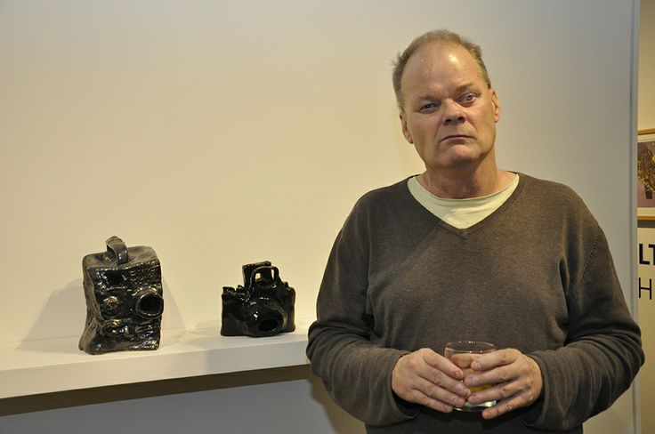 Alan Constable with his cameras at the opening of 'Into the Vault and Out of the Box' 2014.