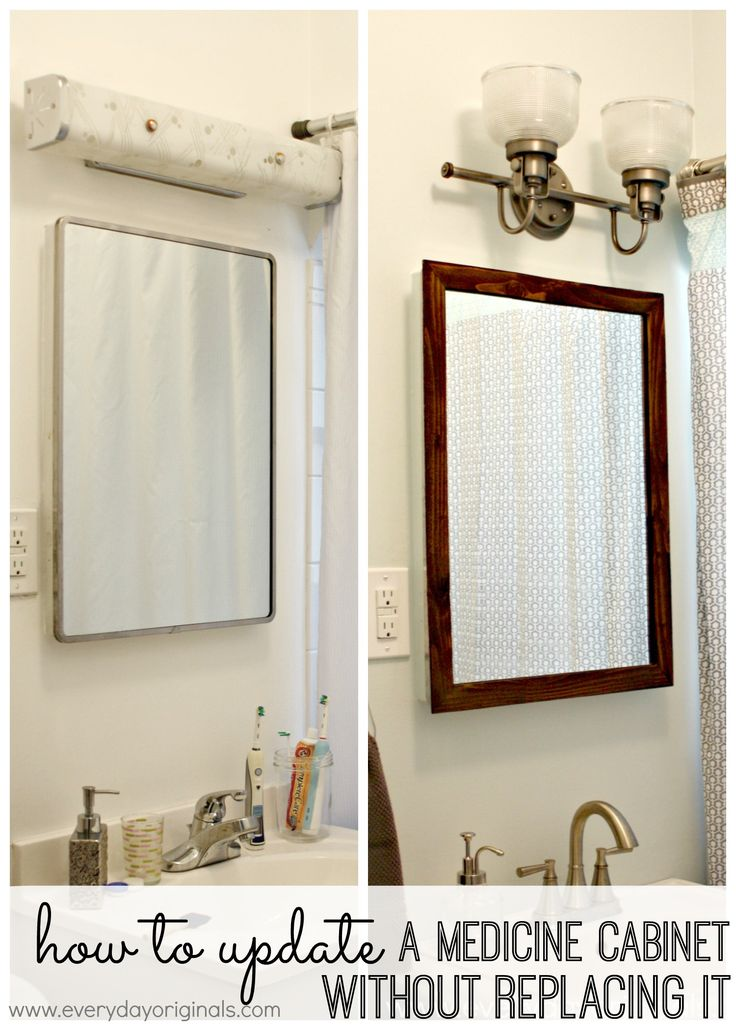 How to Update a Medicine Cabinet {Without Replacing It} | Tired of looking at that dated medicine cabinet (or mirror)? Completely transform the look of it with a few inexpensive and simple supplies. This set us back $1 because we had most of the supplies, but even if you didn't it would probably be about $15-20 total. Perfect, inexpensive solution that makes a huge difference!