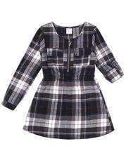 Nass Girl Fleeced Plaid Dress with Long Sleeve for Little Girl