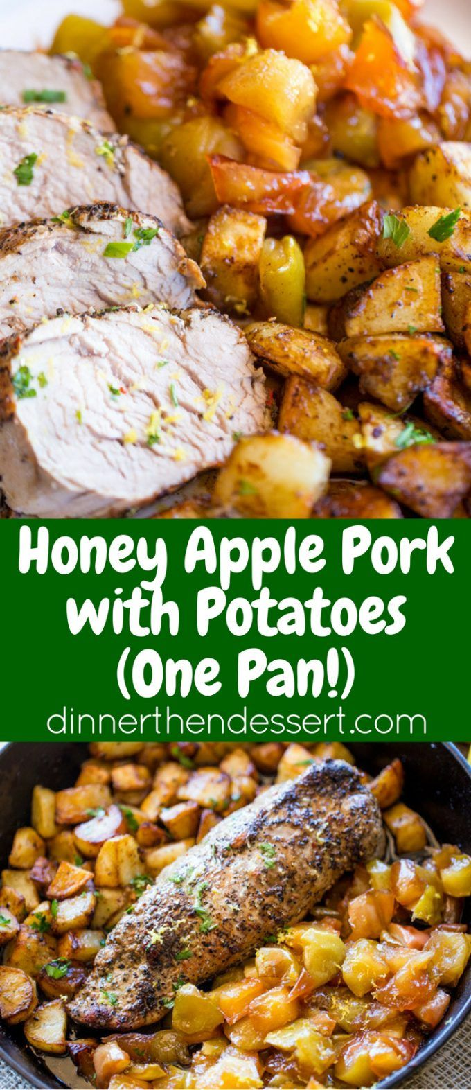 Honey Apple Pork with Potatoes made in a cast iron skillet is the perfect fall meal celebrating honey, apples, roasted potatoes with almost no cleanup and only 7 ingredients. ad CookingwithSmithfield @SmithfieldFoods