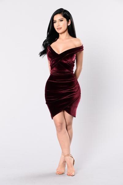 Let's Take Time Dress - Burgundy