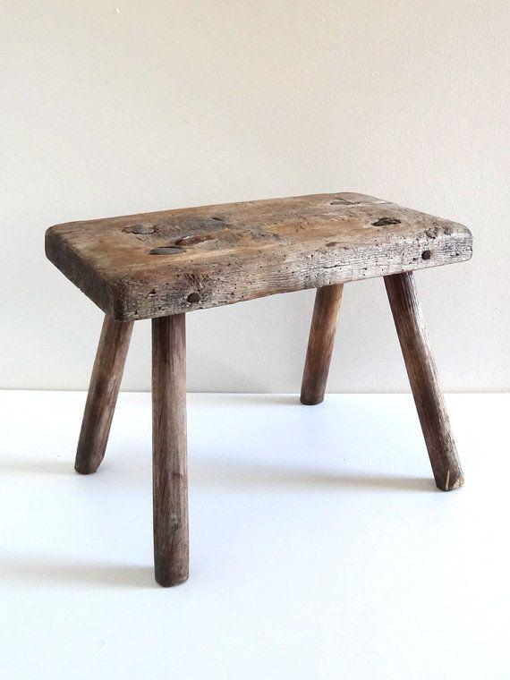 Vintage Wooden Milking Stool by BrocAndPop on Etsy