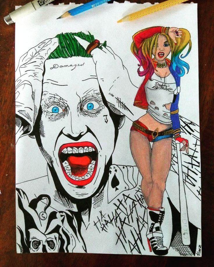 Joker and harley  #suicidésquad ... my latest #artwork   #joker #suicidesquard #harleyquinn #cartoon#colourpencil #monstersink #nimztattooz #delhi#gurgaontattoo