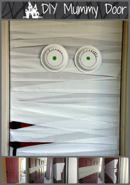 My daughter had the idea for this do it yourself mummy door, and she was so right! It's adorable!   Just stretch the toilet paper across your door, taping each side. You want your bandages to be crooked, because straight bandages are boring. Add paper plate eyes and you've got an awesome mummy! Happy Haunting!