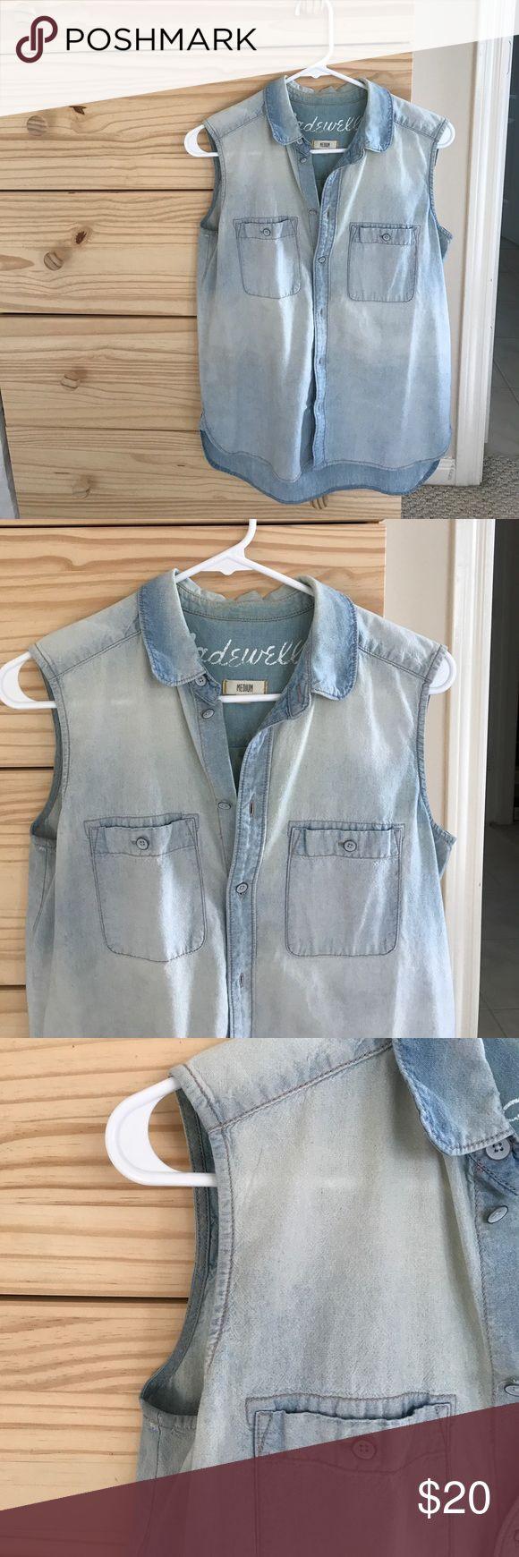 Madewell sleeveless denim shirt size medium Madewell sleeveless denim shirt size medium Madewell Tops Button Down Shirts