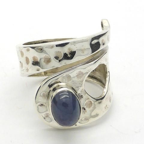 Tanzanite Cabochon Adjustable Ring Hammered Beaten Silver