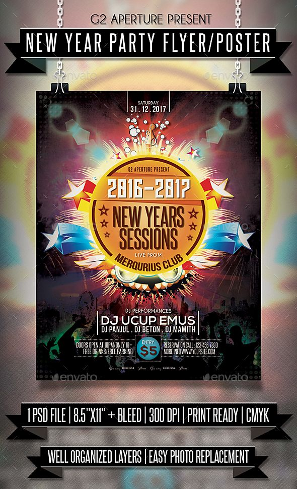 218 best New Year Party Flyer Templates images on Pinterest - new year poster template
