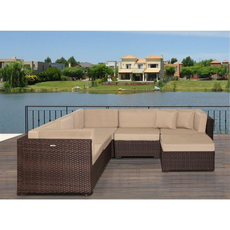 atlantic modena deluxe 6piece sectional set with antique beige sunbrella cushions 92 l