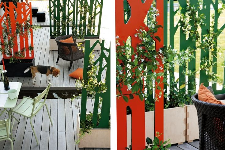 Jardiniere Bois Haute : Jardini?re et treille Separetor, en bois stratifi? haute pression, H