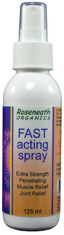Looking for fast acting relief for pain caused by arthritis, rheumatism, RSI or sporting injuries?  Containing various highly active natural anti-inflammatory ingredients, all shown to assist in the healing of bruises, crush injuries, fractures, sprains and contusions, the Roseneath Organics Fast Relief Spray provides local analgesia for all these types of pain.