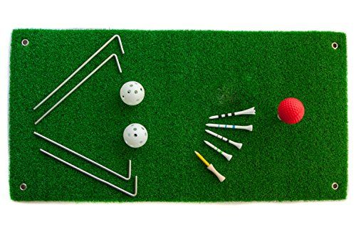 Golf Chipping Driving Hitting Green Mat Set - 3 Rubber Tees, 1 Foam and 2 Practice Balls, 4 Pegs - Aras.Golf