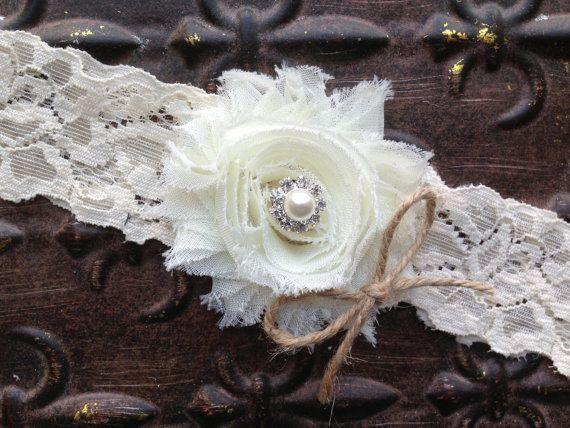 Ivory Wedding Garter, Burlap Wedding Garter, Burlap and Ivory Garter, Lace Wedding Garter, Single Garter, Burlap Bridal Garter, Toss Garter