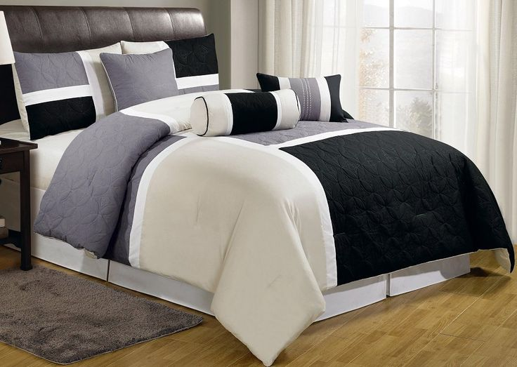 Amazon.com - 7-pieces Black Gray Tan Quilted Patchwork Comforter Set King Size - Bed Comforter Tan