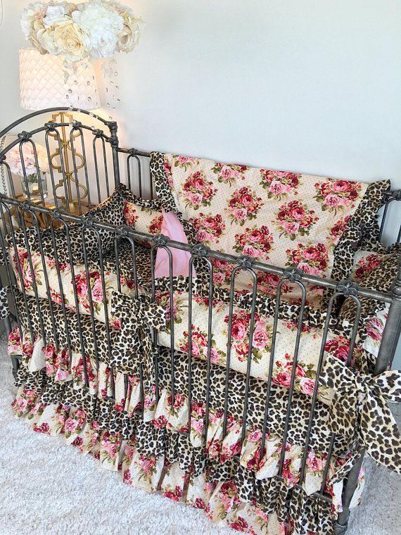 Rambling Roses Crib Bedding For Girl, Leopard Baby Bedding
