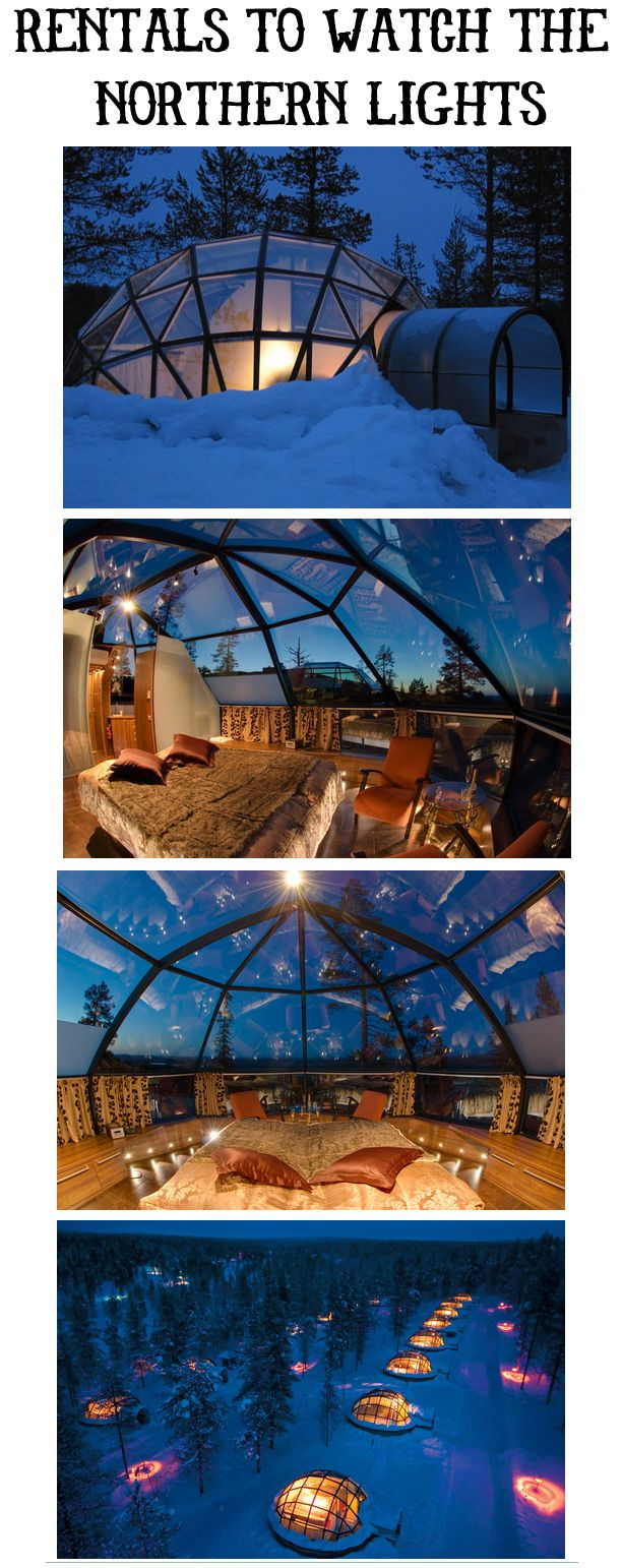 Vacation rentals for viewing The Northern Lights in Kakslauttanen, Lapland, Finland. Yes, this is happening!!!