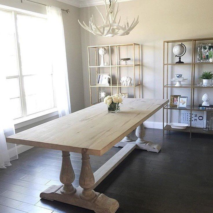 White Antler Chandelier D6 In Dining Room Large Table